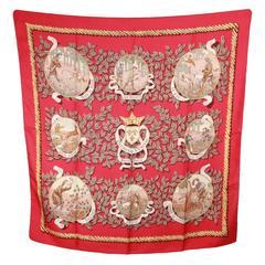 HERMES PARIS Red Silk Scarf TERMES DE VENERIE 1967 Charles Hallo
