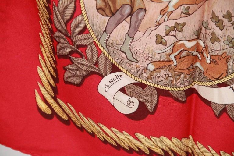 HERMES PARIS Red Silk Scarf TERMES DE VENERIE 1967 Charles Hallo 2