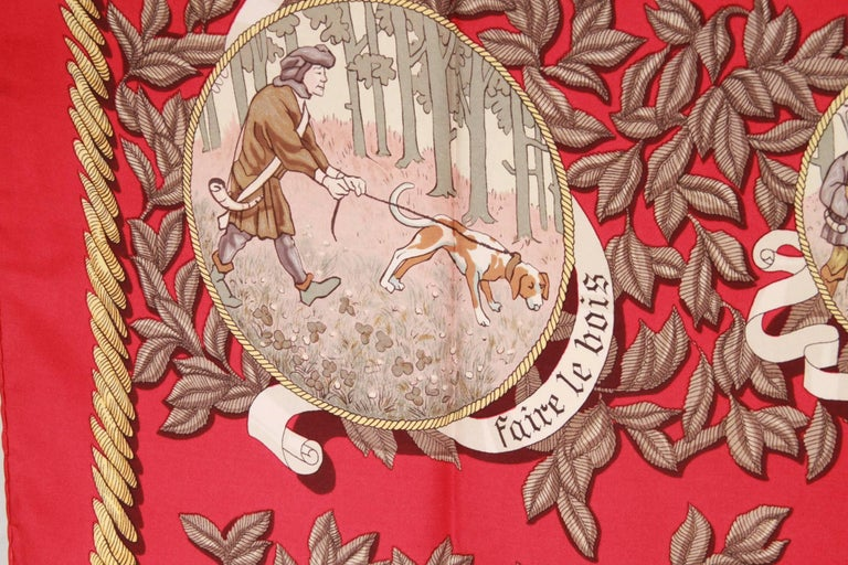 HERMES PARIS Red Silk Scarf TERMES DE VENERIE 1967 Charles Hallo In Good Condition For Sale In Rome, Rome