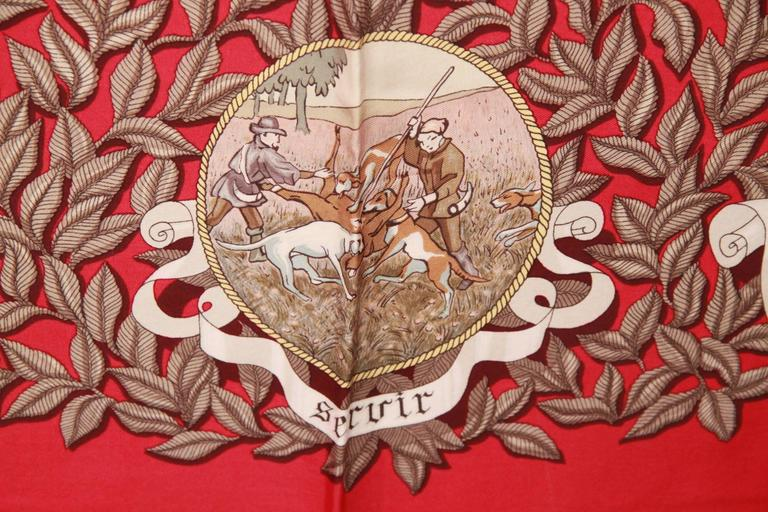 HERMES PARIS Red Silk Scarf TERMES DE VENERIE 1967 Charles Hallo For Sale 1