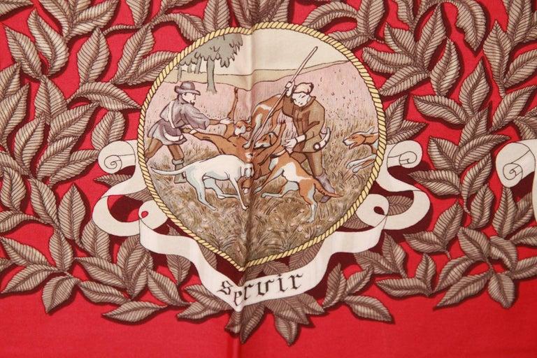 HERMES PARIS Red Silk Scarf TERMES DE VENERIE 1967 Charles Hallo For Sale 1
