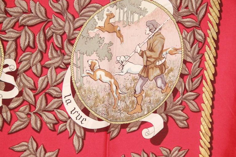 HERMES PARIS Red Silk Scarf TERMES DE VENERIE 1967 Charles Hallo For Sale 5