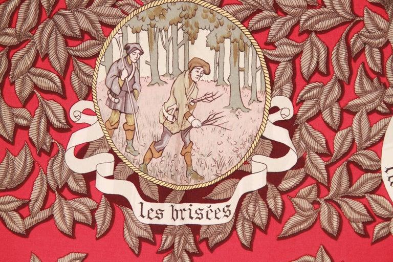 HERMES PARIS Red Silk Scarf TERMES DE VENERIE 1967 Charles Hallo For Sale 4