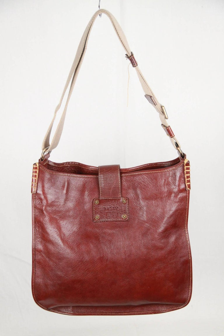 Bally Brown Leather Shoulder Bag Tote For Sale At 1stdibs