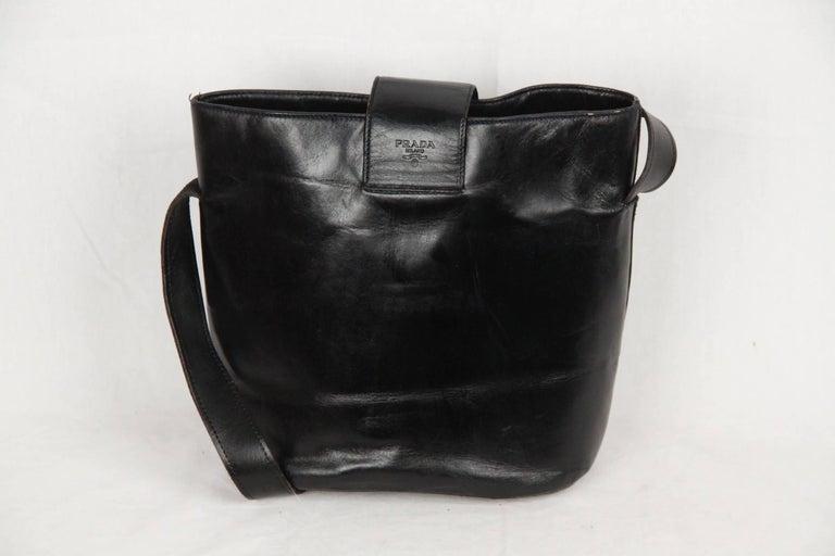 PRADA Vintage Black Leather TOTE SHOULDER BAG Bucket 2