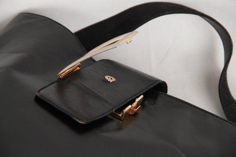 PRADA Vintage Black Leather TOTE SHOULDER BAG Bucket For Sale 1