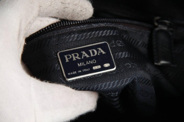 PRADA Vintage Black Leather TOTE SHOULDER BAG Bucket For Sale 5