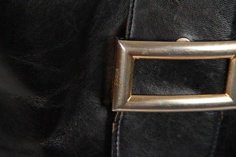 PRADA Vintage Black Leather TOTE SHOULDER BAG Bucket For Sale 2