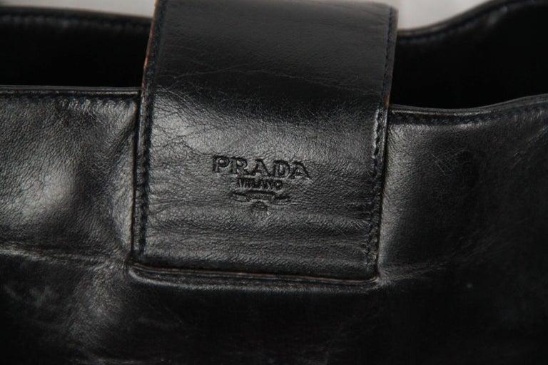 PRADA Vintage Black Leather TOTE SHOULDER BAG Bucket For Sale 3