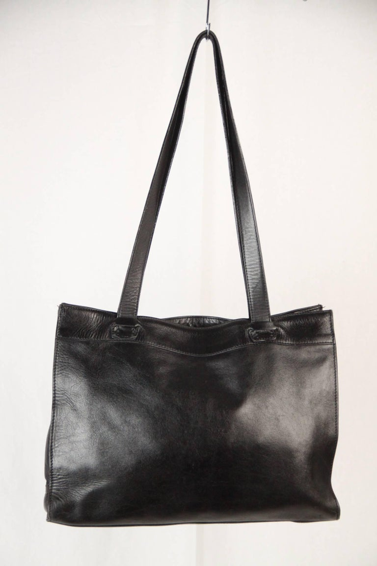 BALLY Black WOVEN Leather TOTE Shoulder Bag For Sale 2