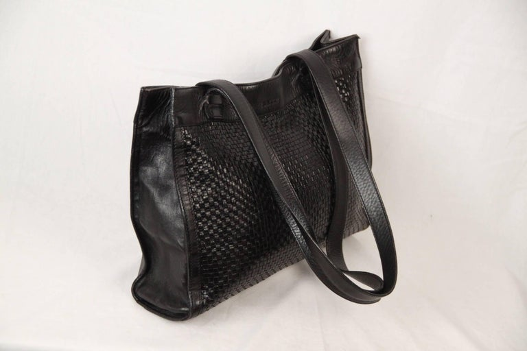 Women's BALLY Black WOVEN Leather TOTE Shoulder Bag For Sale