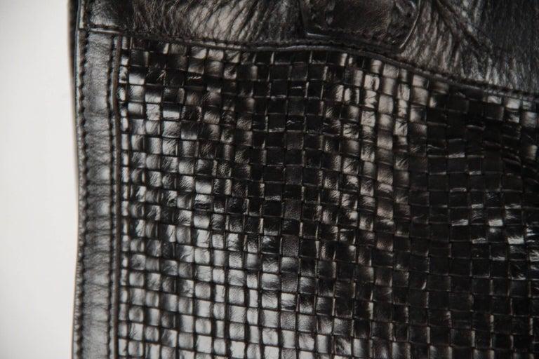 BALLY Black WOVEN Leather TOTE Shoulder Bag 3