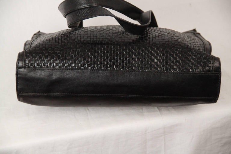 BALLY Black WOVEN Leather TOTE Shoulder Bag For Sale 1