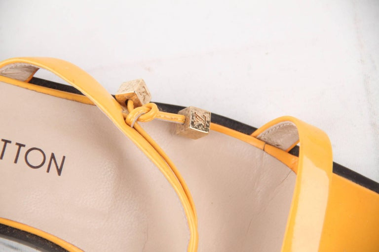 LOUIS VUITTON Yellow Patent Leather FLAT SANDALS Shoes SZ 38 For Sale 1