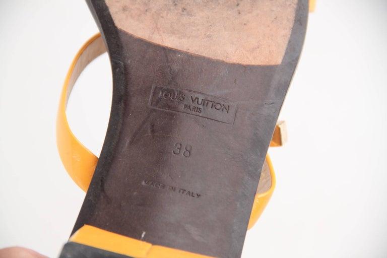 LOUIS VUITTON Yellow Patent Leather FLAT SANDALS Shoes SZ 38 For Sale 2