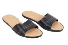 HOGAN Black Leather SANDALS Flat Shoes SLIDES Size 36