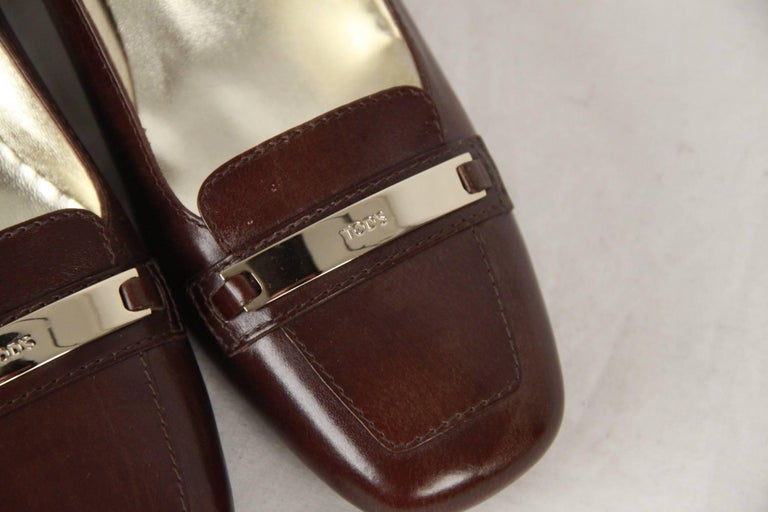 TOD'S Brown Leather SLIP ON PUMPS Shoes HEELS Size 38 In Good Condition For Sale In Rome, Rome