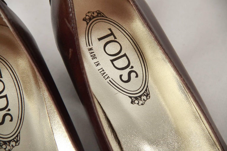 Women's TOD'S Brown Leather SLIP ON PUMPS Shoes HEELS Size 38 For Sale