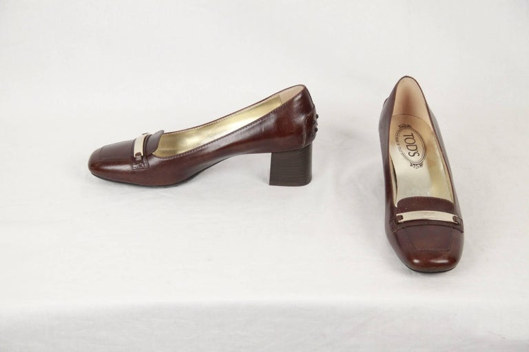 TOD'S Brown Leather SLIP ON PUMPS Shoes HEELS Size 38 For Sale 1