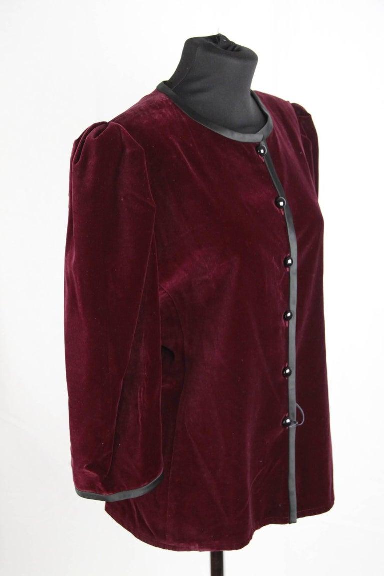 SAINT LAURENT Vintage Purple Velvet JACKET Size 44 3