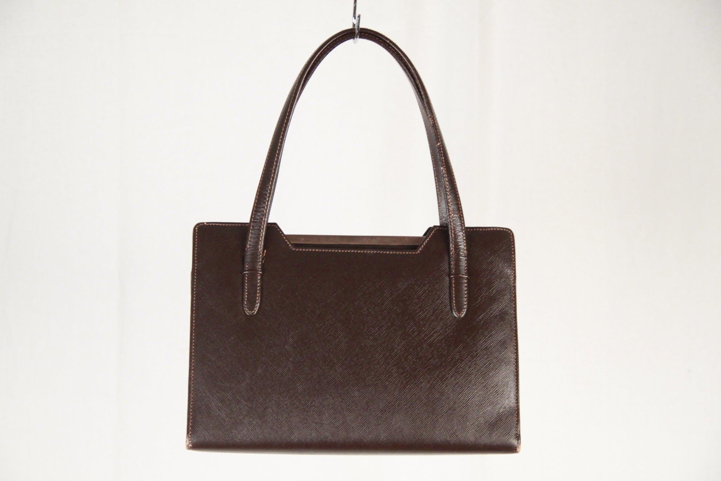 Gucci Vintage Brown Leather Handbag Top Handles Bag gr2cSN