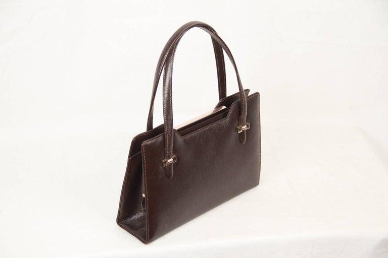 Black Gucci Vintage Brown Leather Handbag Top Handles Bag For