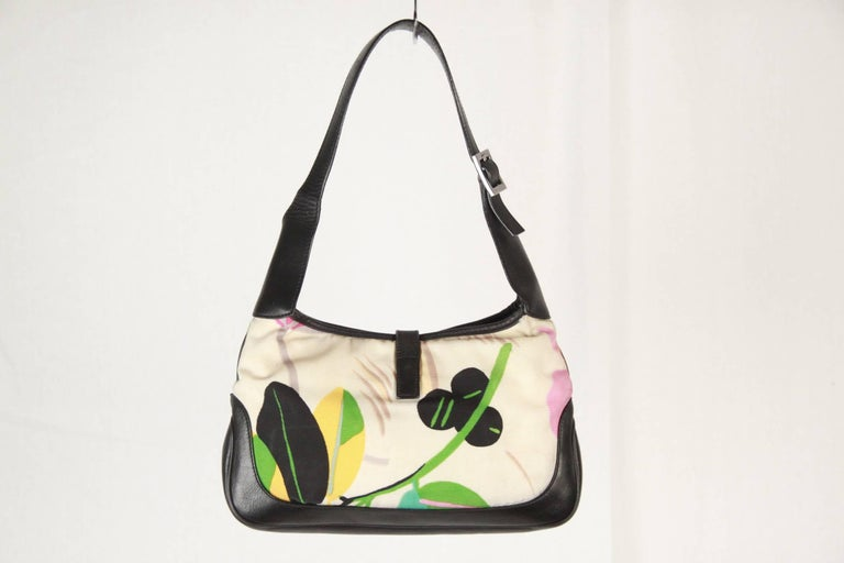 gucci floral canvas and black leather hobo jackie o for sale at 1stdibs