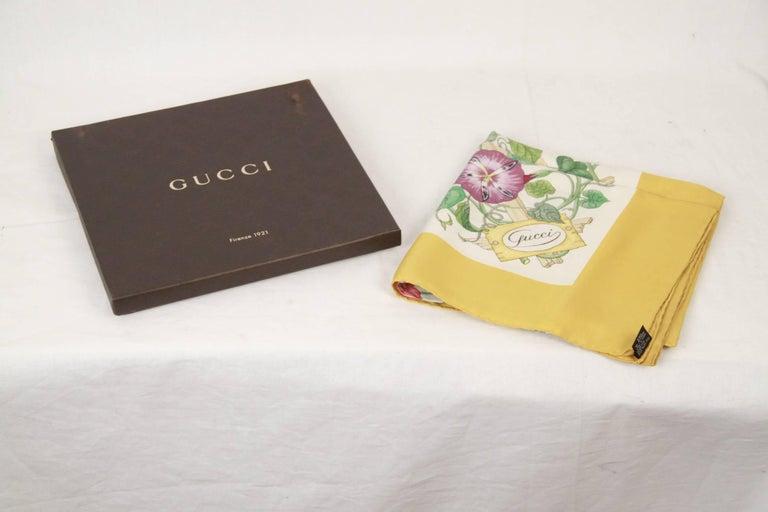 GUCCI VINTAGE Floral Silk SCARF Accornero TRALICCIO Trellis 1968 6