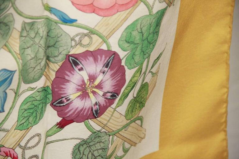 GUCCI VINTAGE Floral Silk SCARF Accornero TRALICCIO Trellis 1968 2