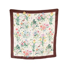 GUCCI VINTAGE Floral Silk SCARF Brown Border