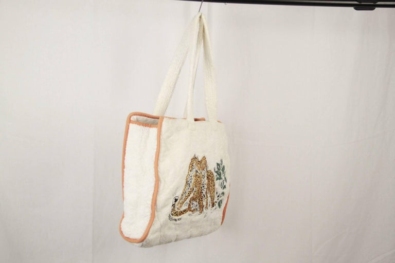 Hermes Paris White Terry Cloth Cotton Beach Bag W