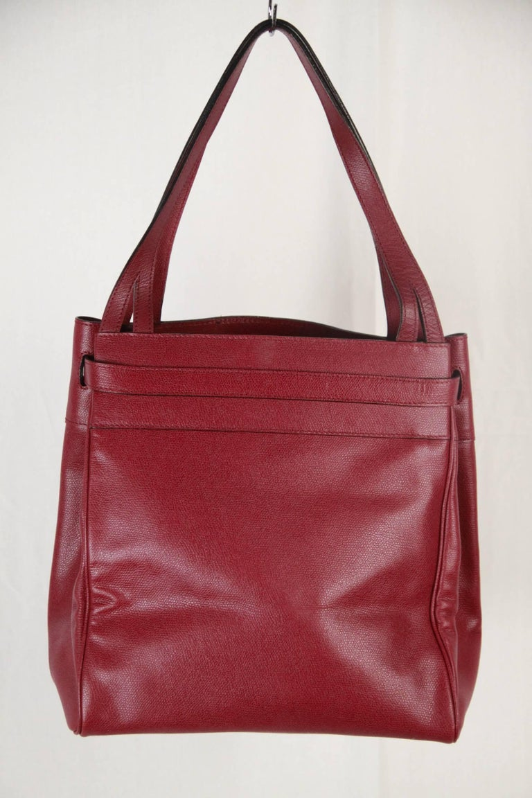 VALEXTRA MILANO Burgundy Leather B CUBE Bag TOTE 3