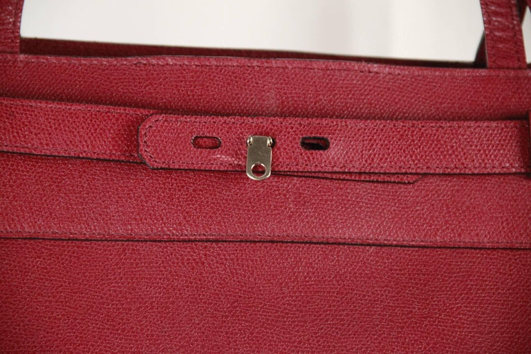 VALEXTRA MILANO Burgundy Leather B CUBE Bag TOTE 2