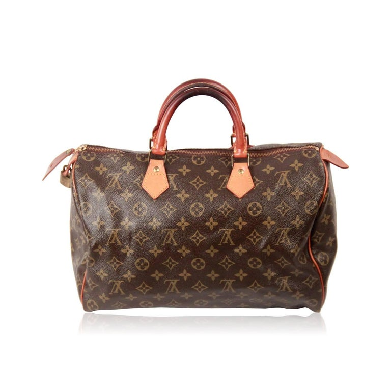 ac26d27a36e3 LOUIS VUITTON Vintage Brown MONOGRAM Canvas SPEEDY 35 Handbag For Sale