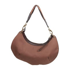 GUCCI Brown Canvas HALFMOON HOBO Shoulder Bag