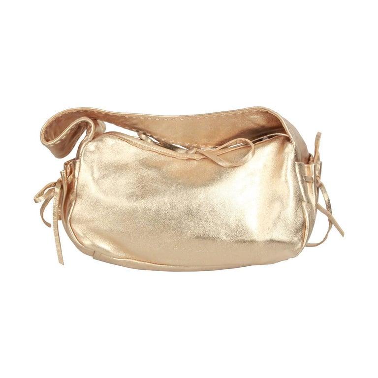 PRADA Gold Tone Leather SHOULDER BAG