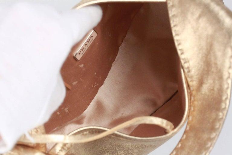 PRADA Gold Tone Leather SHOULDER BAG For Sale 3