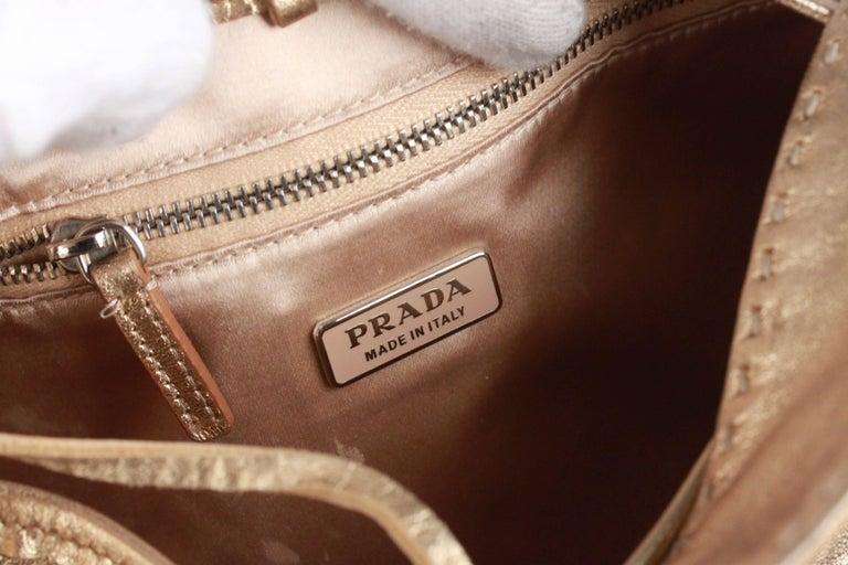 PRADA Gold Tone Leather SHOULDER BAG For Sale 4