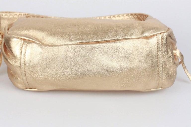 Women's PRADA Gold Tone Leather SHOULDER BAG For Sale