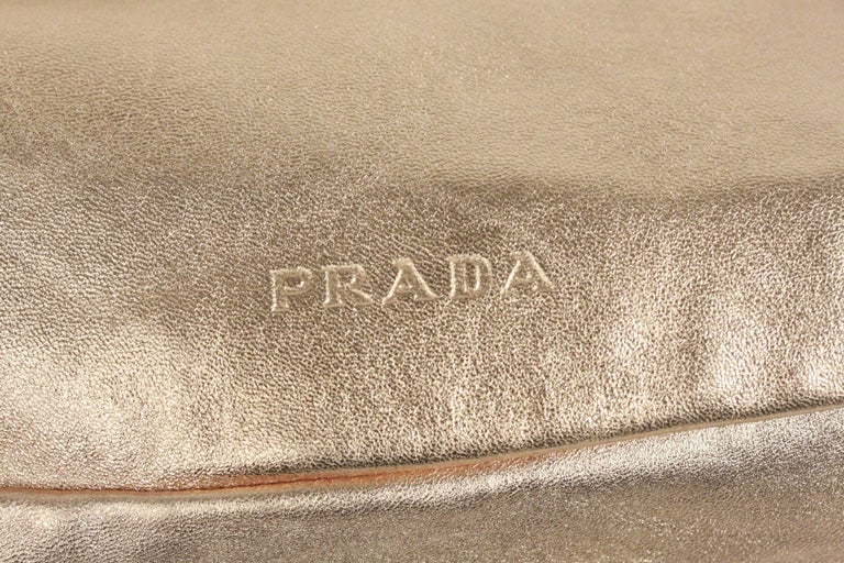 PRADA Gold Tone Leather SHOULDER BAG In Good Condition For Sale In Rome, Rome
