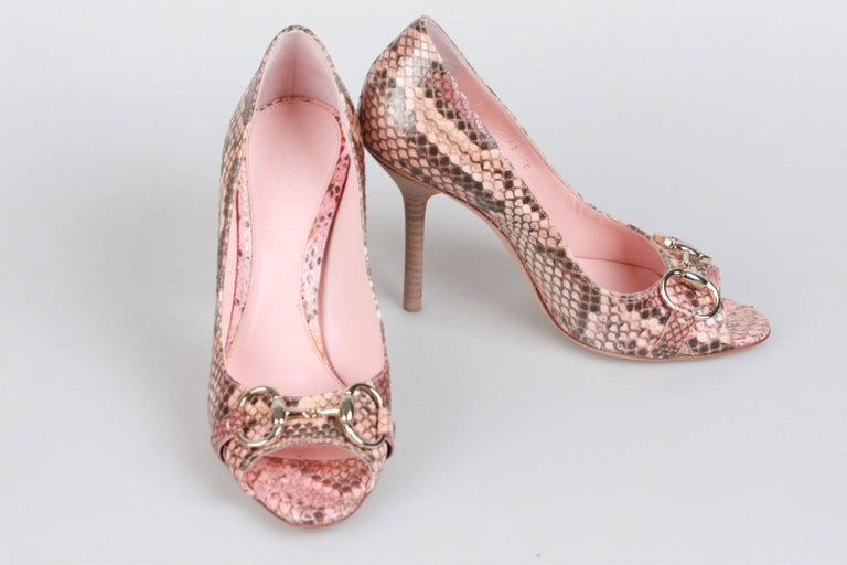 aa3a9f4e274 GUCCI Pink Python HOLLYWOOD PEEP Open TOE Shoes HEELS Size 37C For ...