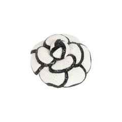 CHANEL White & Black CAMELLIA BROOCH Camelia Flower Pin