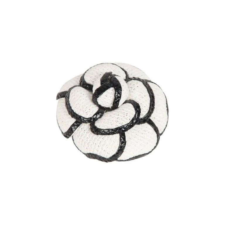 Black Flower 21st Century Op Art Set: CHANEL White And Black CAMELLIA BROOCH Camelia Flower Pin