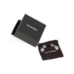 CHANEL Silver CC Logo TEAR DROP Crystal Piercing EARRINGS