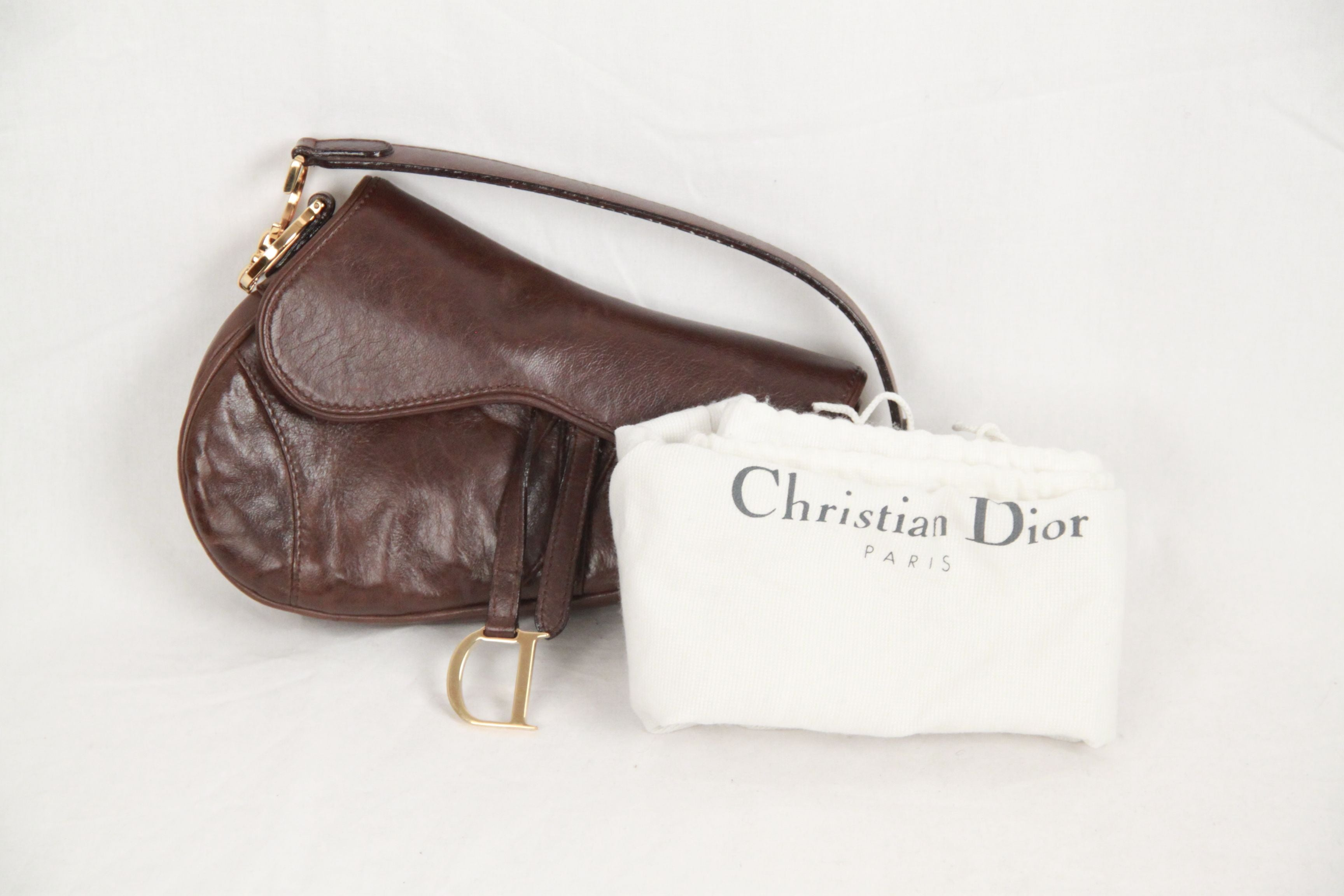 3811512faf5a CHRISTIAN DIOR Brown Leather SADDLE BAG at 1stdibs