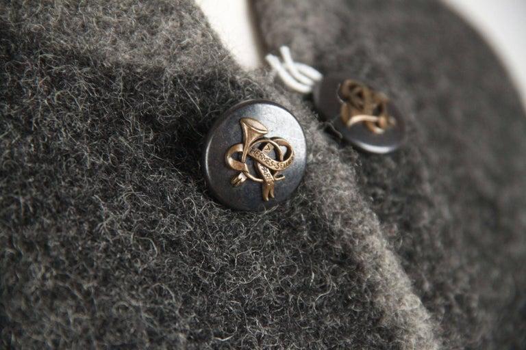 Hermes Paris Vintage Gray Pure New Wool Coat Size M For Sale 1