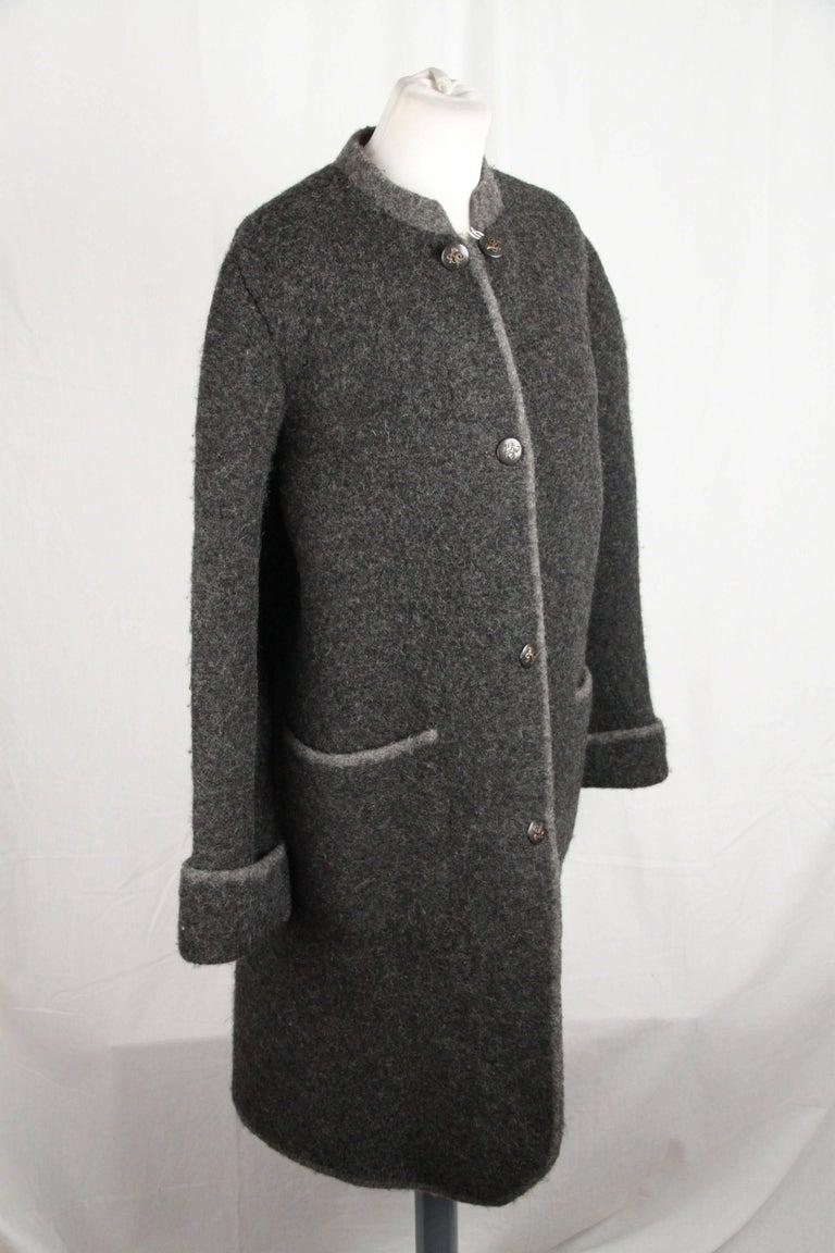 Hermes Paris Vintage Gray Pure New Wool Coat Size M For Sale 2