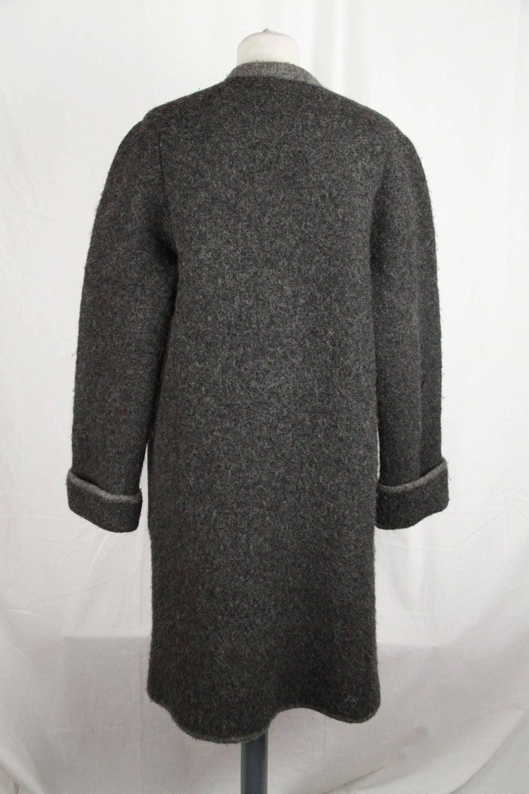 Hermes Paris Vintage Gray Pure New Wool Coat Size M For Sale 3