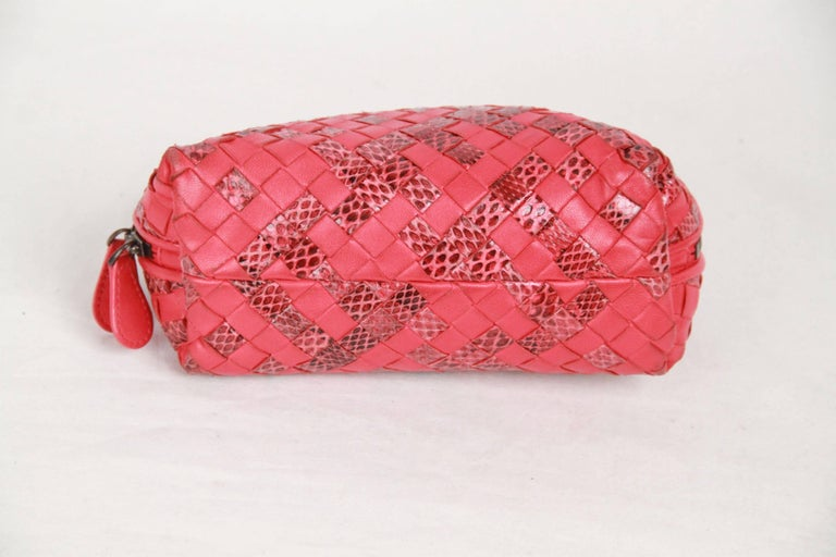 BOTTEGA VENETA Red WOVEN INTRECCIATO Leather and Snakeskin ...