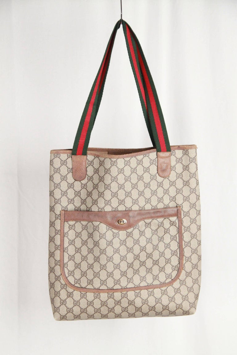 GUCCI Vintage Tan GG MONOGRAM Canvas SHOPPING BAG Tote at ...